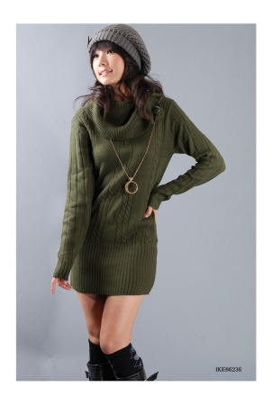 green cowl neck sweater